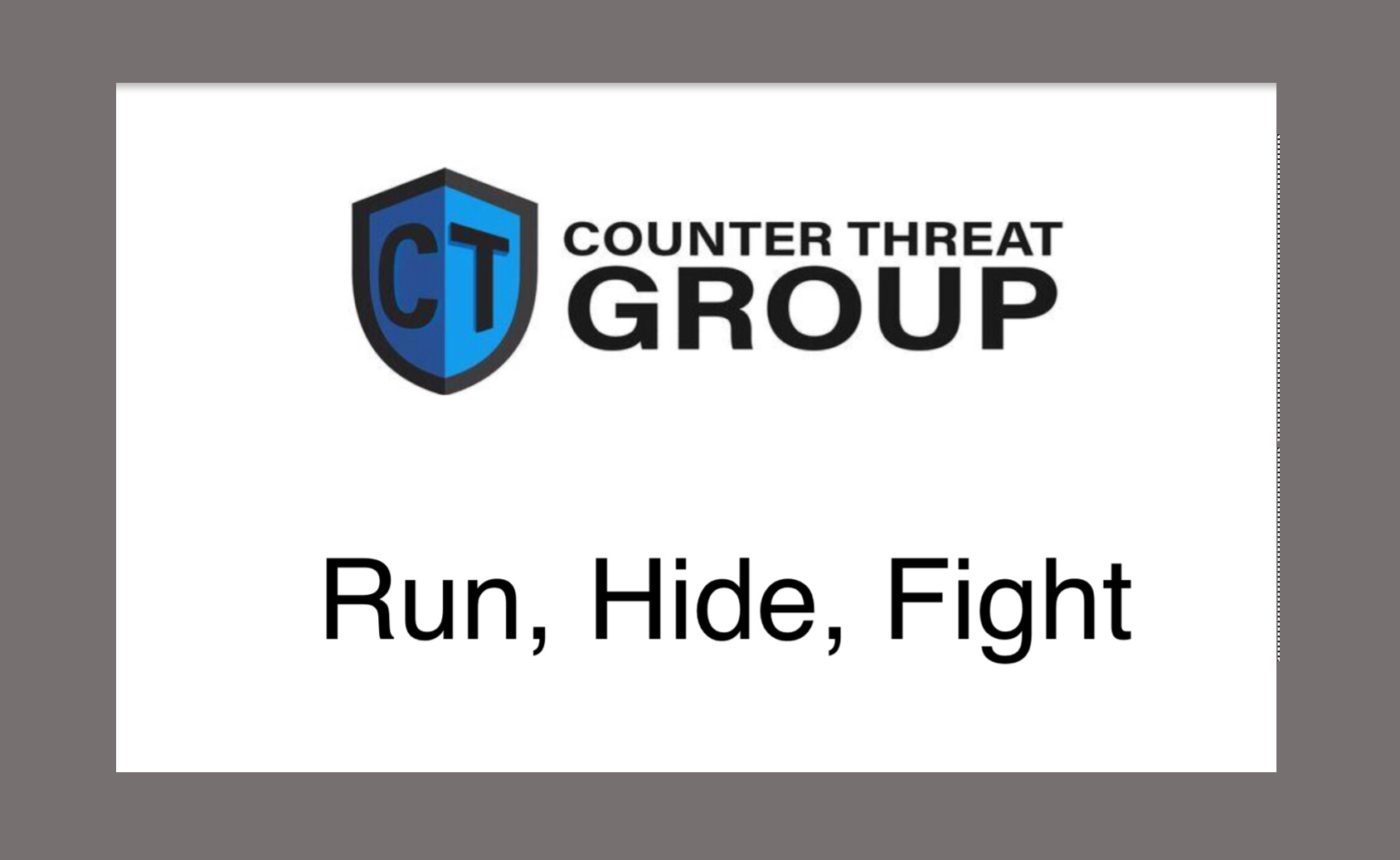 active shooter  run hide fight  three important actions